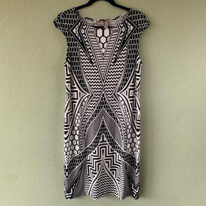 Chico's sz 0 career dress geometric print midi